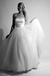 Brautkleid mit Tüll und duchesse