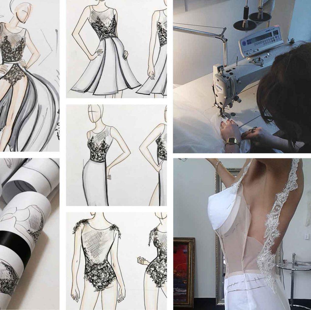 Der kreative Prozess von einer Designzeichnung bis zum Prototypen. Brautmode Brautkleider