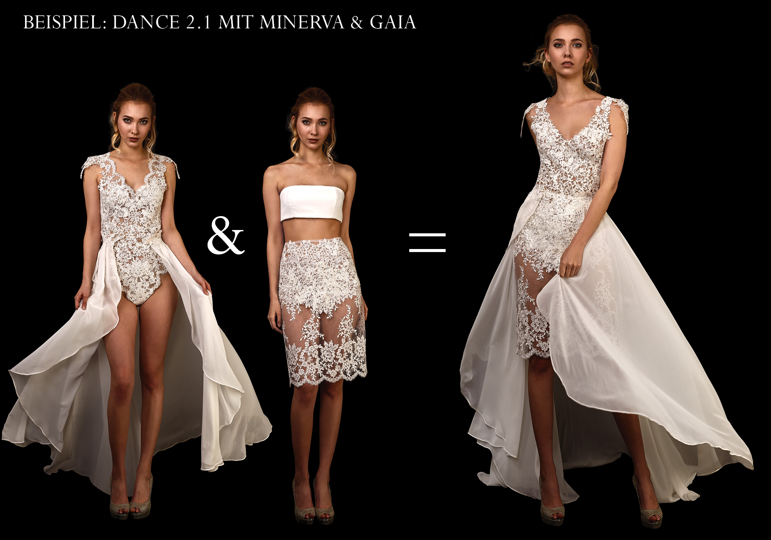 Ein gutes Beispiel, wie man unsere Brautkleider für die perfekte Stand Hochzeit kombinieren kann - match dance claudia gaia