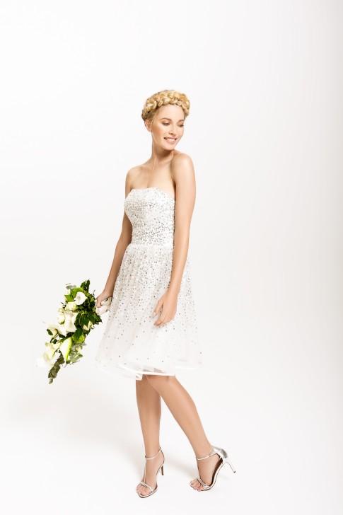 kurzes ivory Brautkleid mit Pailletten in silber