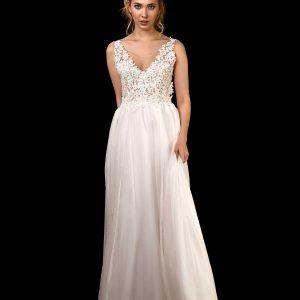 Vorderansicht Brautkleid mit Oberteil aus Spitze mit tiefem Rückenausschnitt und Chiffon Rock
